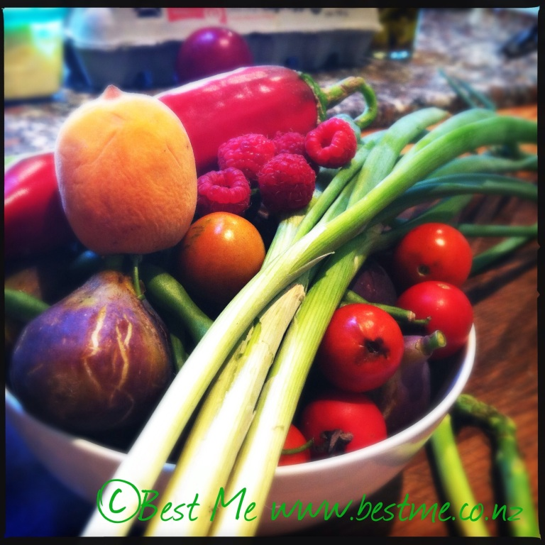 Fresh produce from the garden.... the makings of dinner.