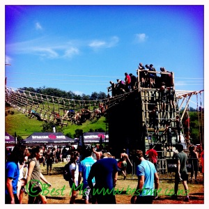 Rope climb (far right) and net crawling