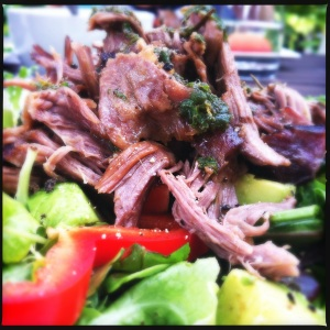 Lamb shoulder that one of our amazing hosts cooked for us. Coupled with a beautiful organic salad.